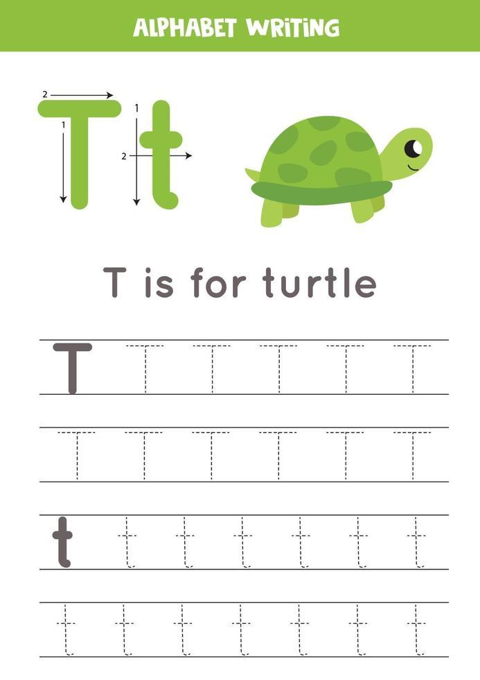 t è per la tartaruga. tracciare il foglio di lavoro dell'alfabeto inglese. vettore