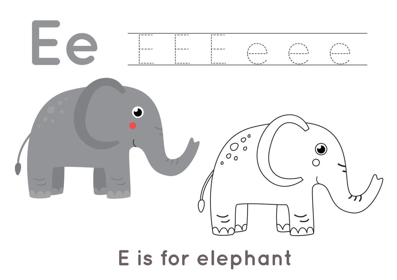 pagina da colorare e tracciare con la lettera e e un elefante simpatico cartone animato. vettore