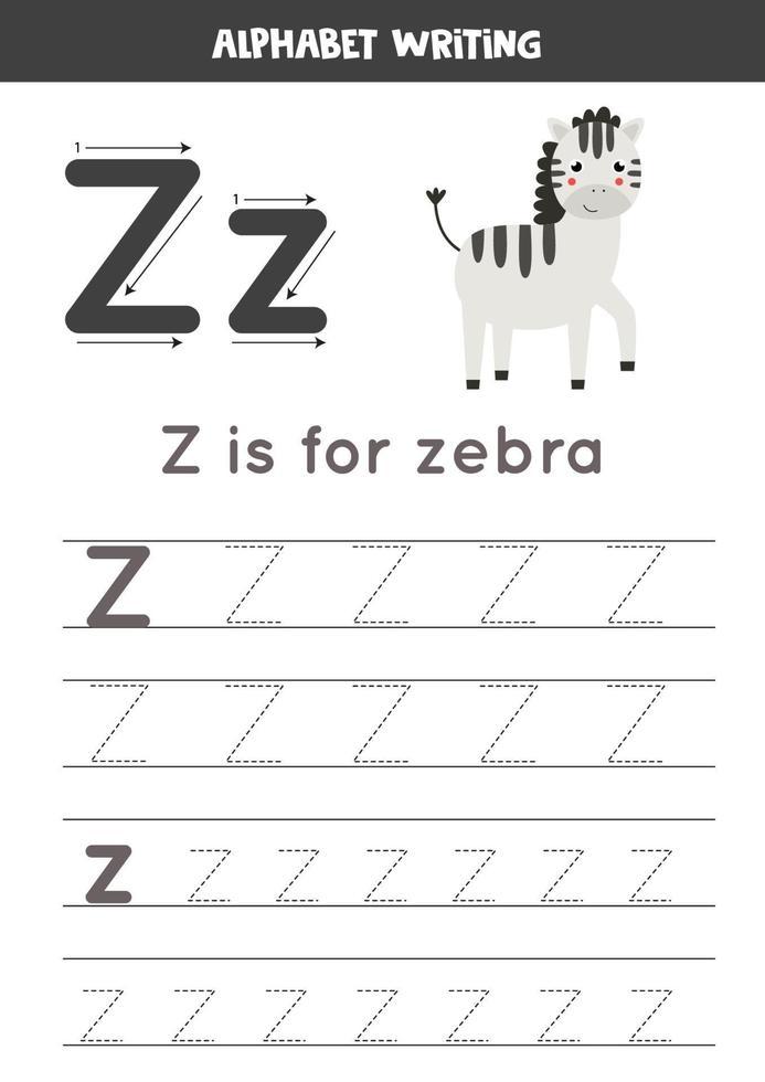 pratica della scrittura a mano con la lettera dell'alfabeto. tracciamento z. vettore