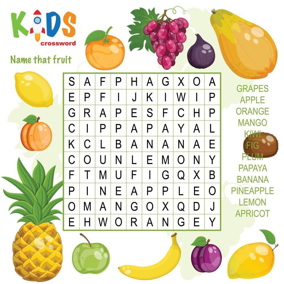 nome che ricerca di parole di frutta vettore