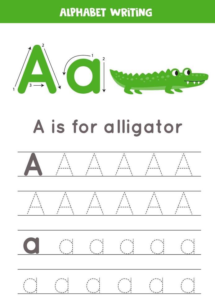 tracciando la lettera di alfabeto a con alligatore simpatico cartone animato. vettore