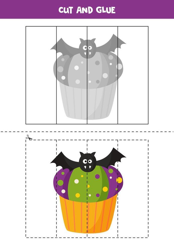 tagliare e incollare gioco per bambini. carino cupcake di halloween. vettore