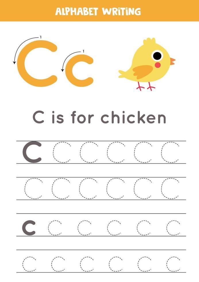 pratica della scrittura a mano con la lettera dell'alfabeto. tracciamento c. vettore