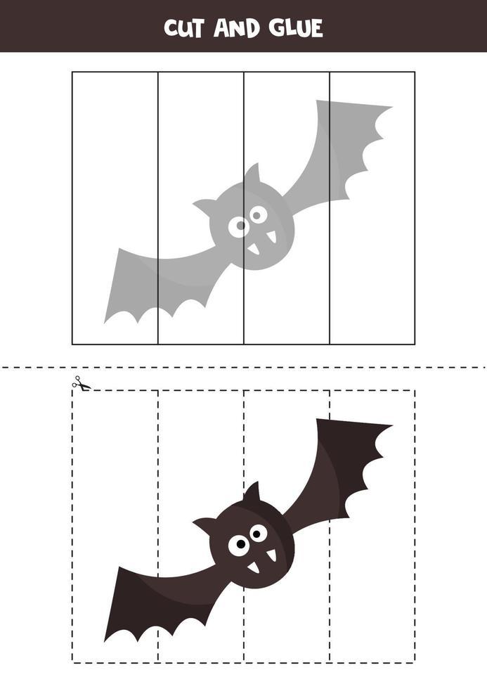 tagliare il pipistrello nero di halloween e incollarlo. vettore