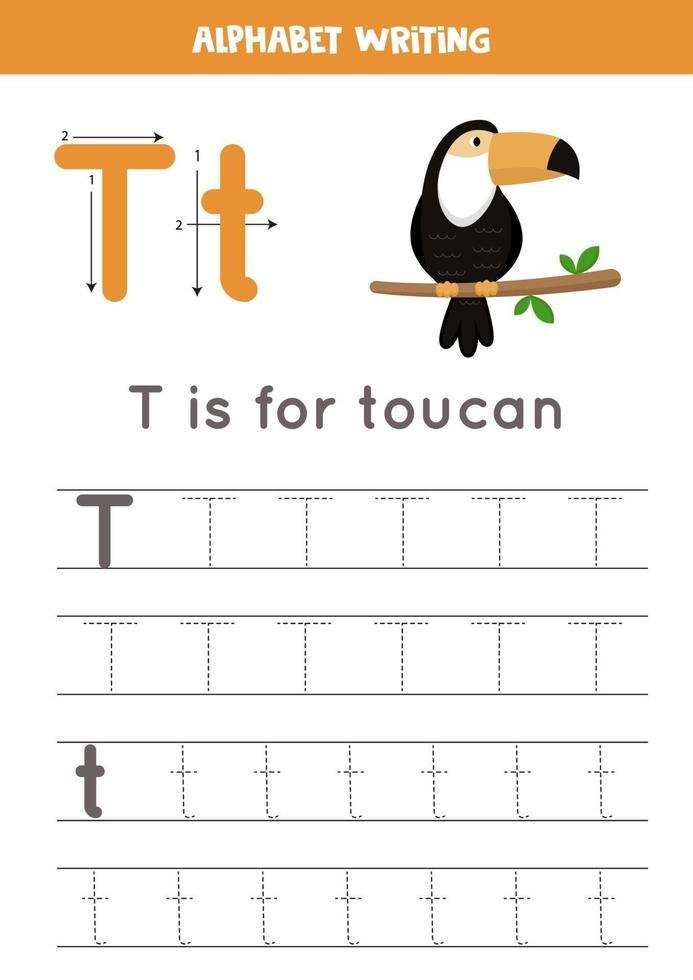 pratica della scrittura a mano con la lettera dell'alfabeto. tracciamento t. vettore