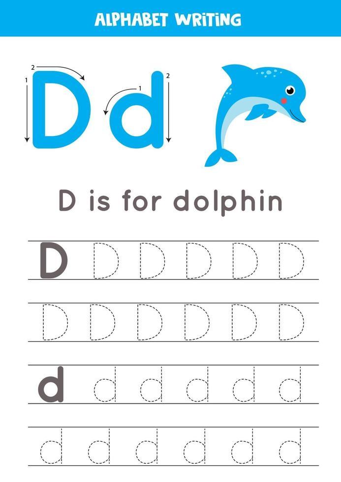 d sta per delfino. tracciare il foglio di lavoro dell'alfabeto inglese. vettore