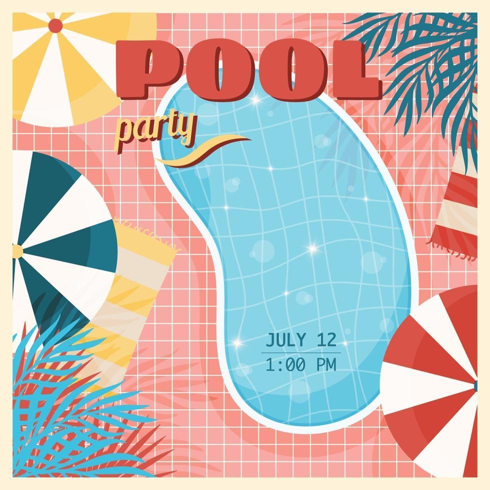 poster vintage festa in piscina vettore
