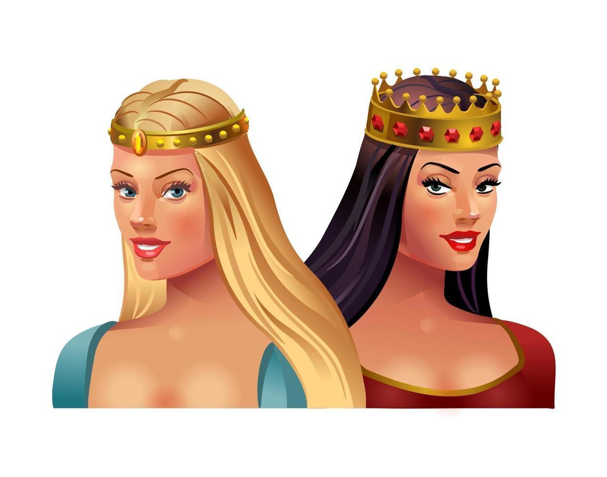 principessa bionda e bruna in corone su uno sfondo bianco. illustrazione vettoriale