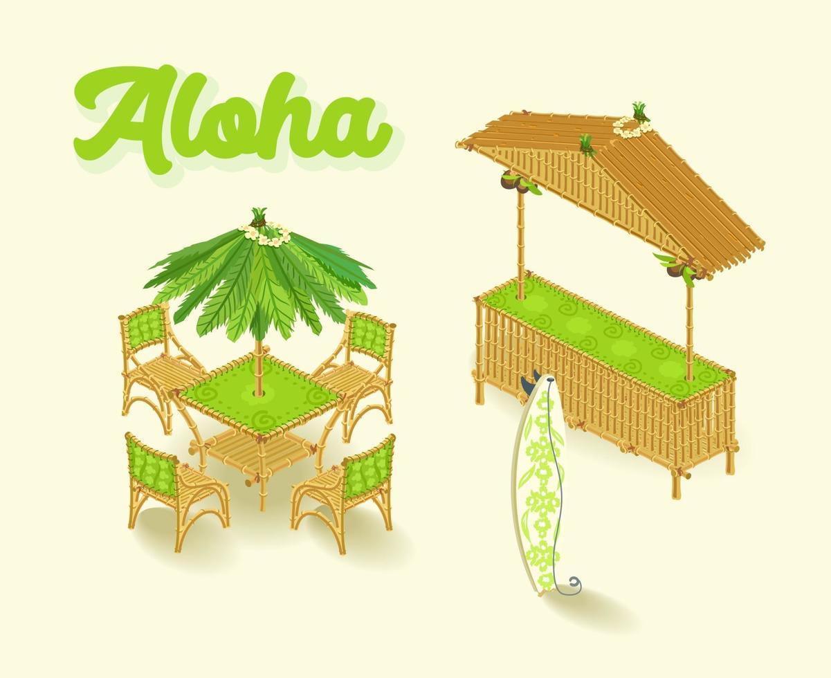 bar hawaii, set isometrico, stile canna. illustrazione vettoriale