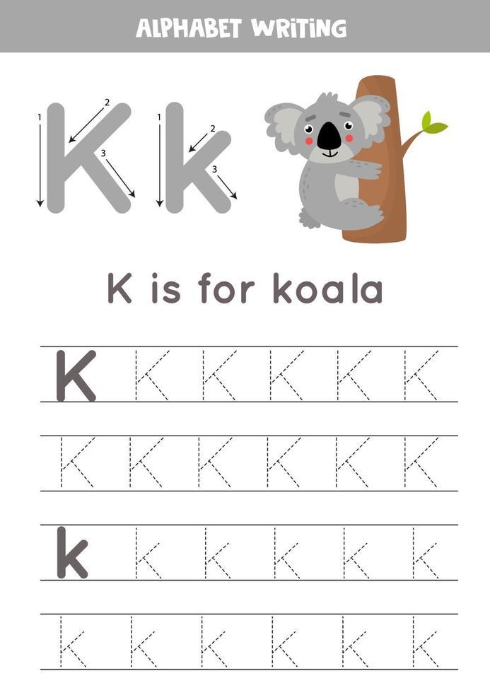 k sta per koala. tracciare il foglio di lavoro dell'alfabeto inglese. vettore