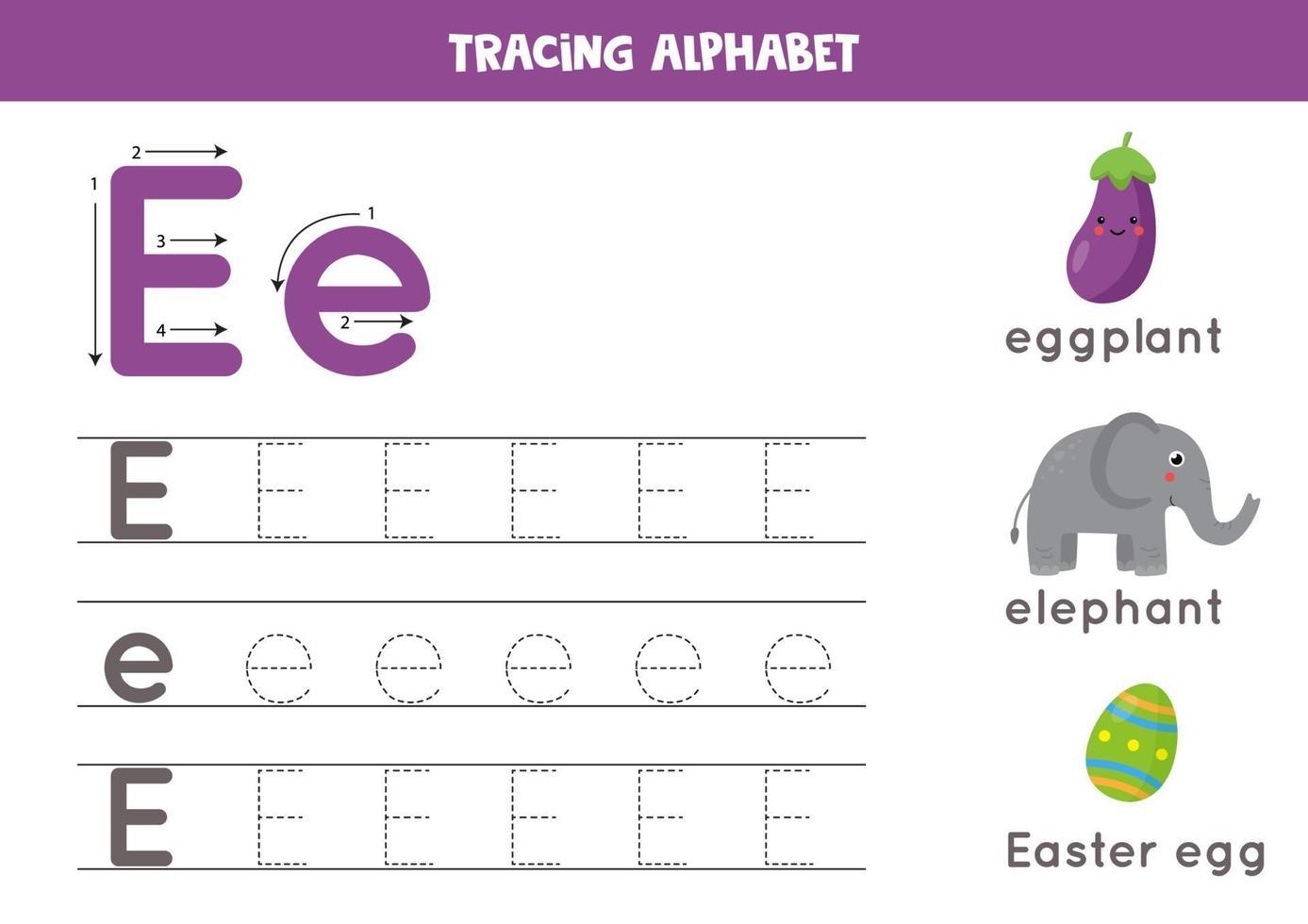 tracciando la lettera e dell'alfabeto con immagini di simpatici cartoni animati. vettore
