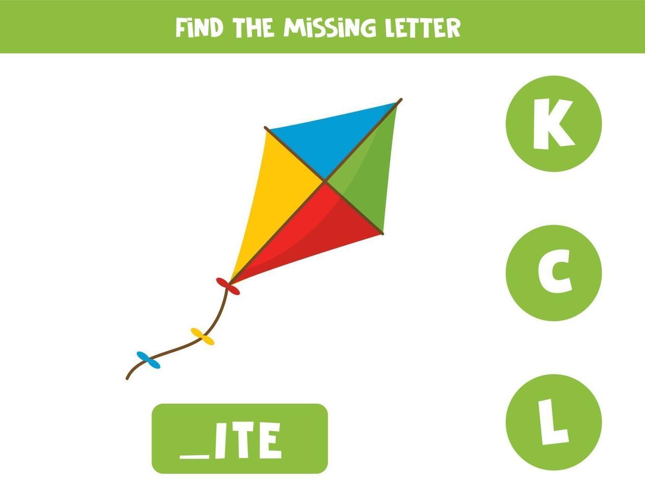 trova la lettera mancante con l'aquilone simpatico cartone animato. vettore
