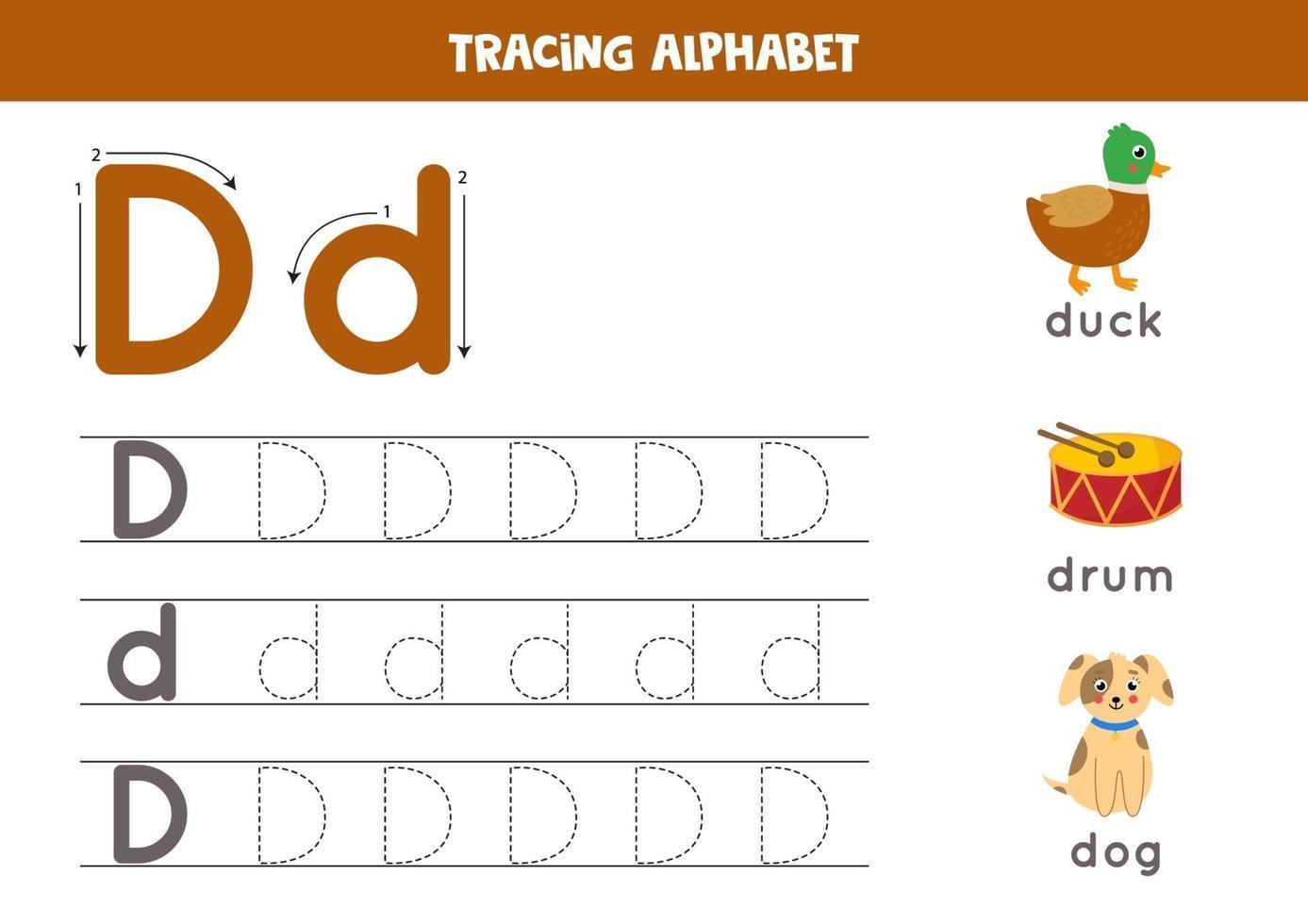 pratica della scrittura a mano con la lettera dell'alfabeto. tracciamento d. vettore