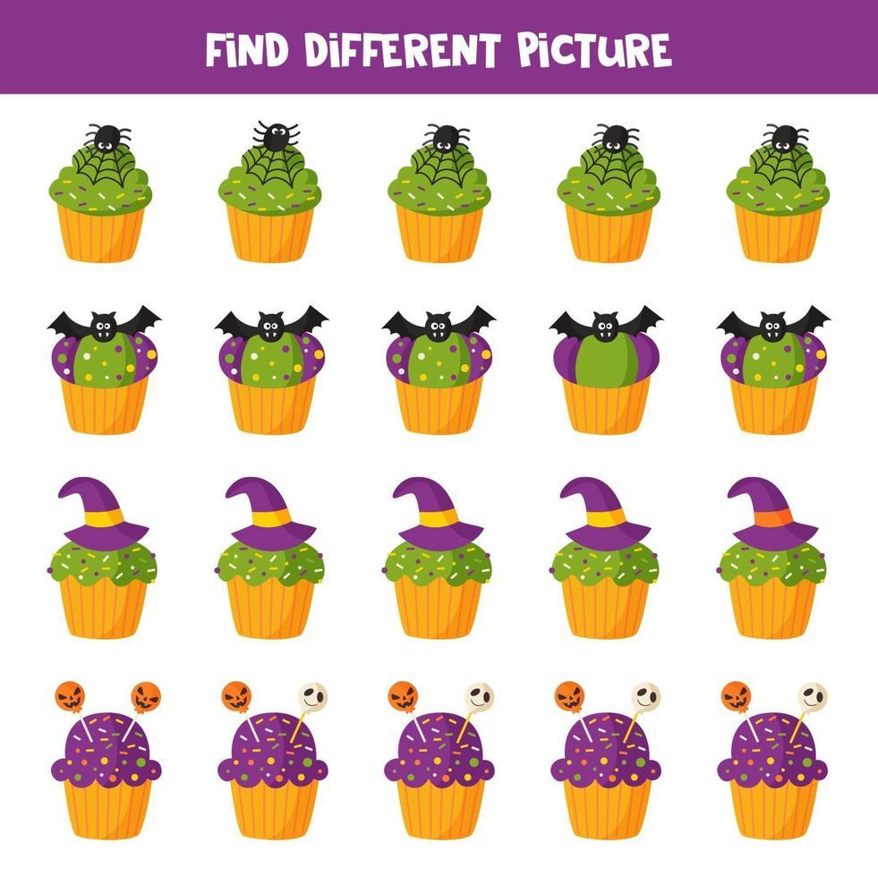 trova un'immagine diversa del cupcake di Halloween. gioco per bambini. vettore