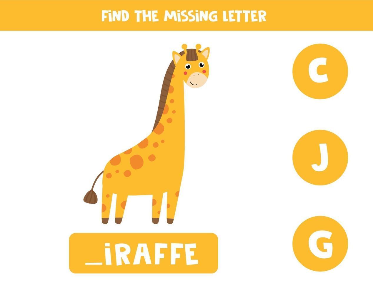 trova la lettera mancante e scrivila. giraffa simpatico cartone animato. vettore