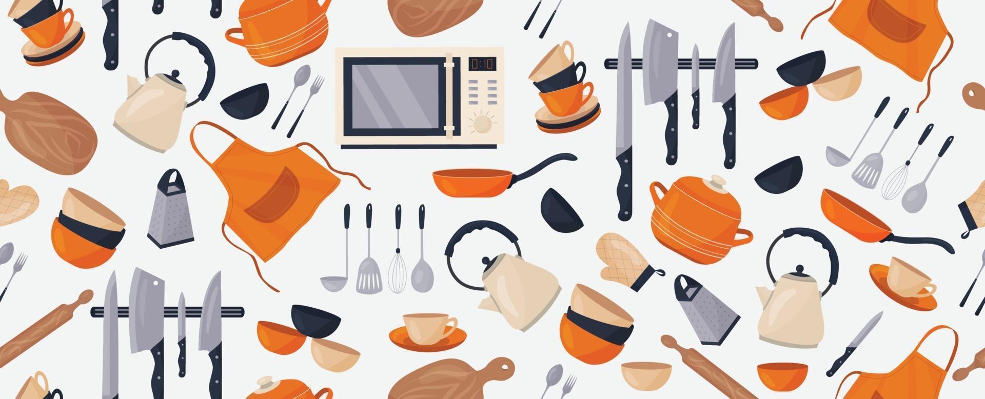 Vector seamless pattern con vari accessori da cucina su uno sfondo bianco. utensili da cucina. una pentola, un bollitore, coltelli, piatti, tazze ...