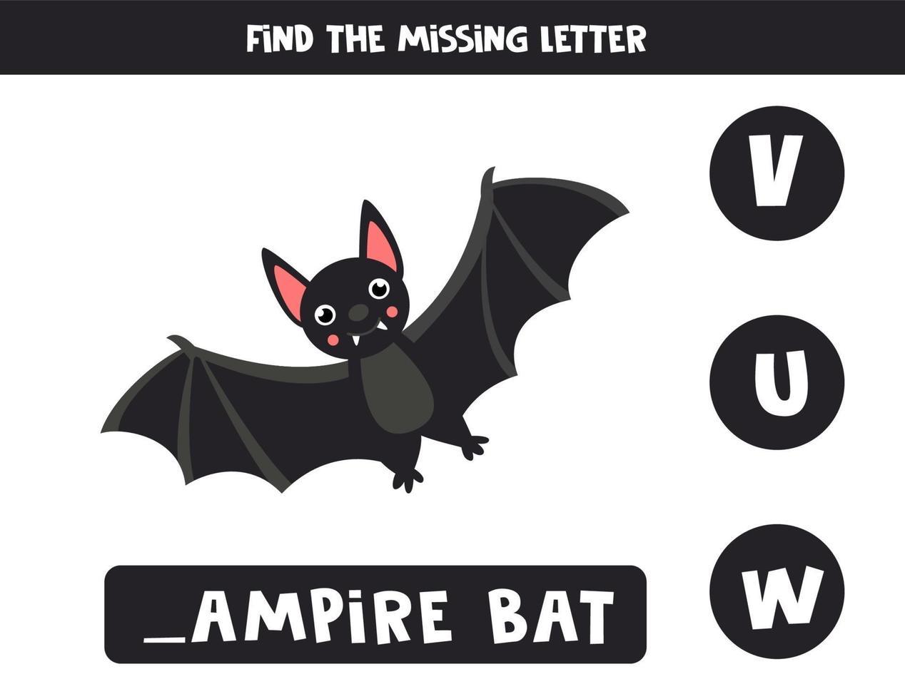 trova la lettera mancante con un pipistrello vampiro simpatico cartone animato. vettore