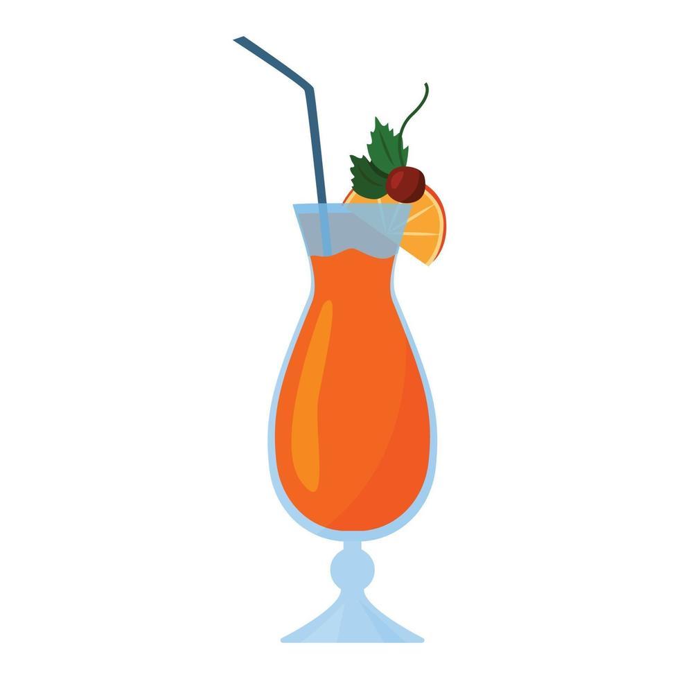 cocktail in un bicchiere alto con una fetta di arancia e una ciliegia. fumetto illustrazione vettoriale. Isolato su uno sfondo bianco. stile piatto. vettore