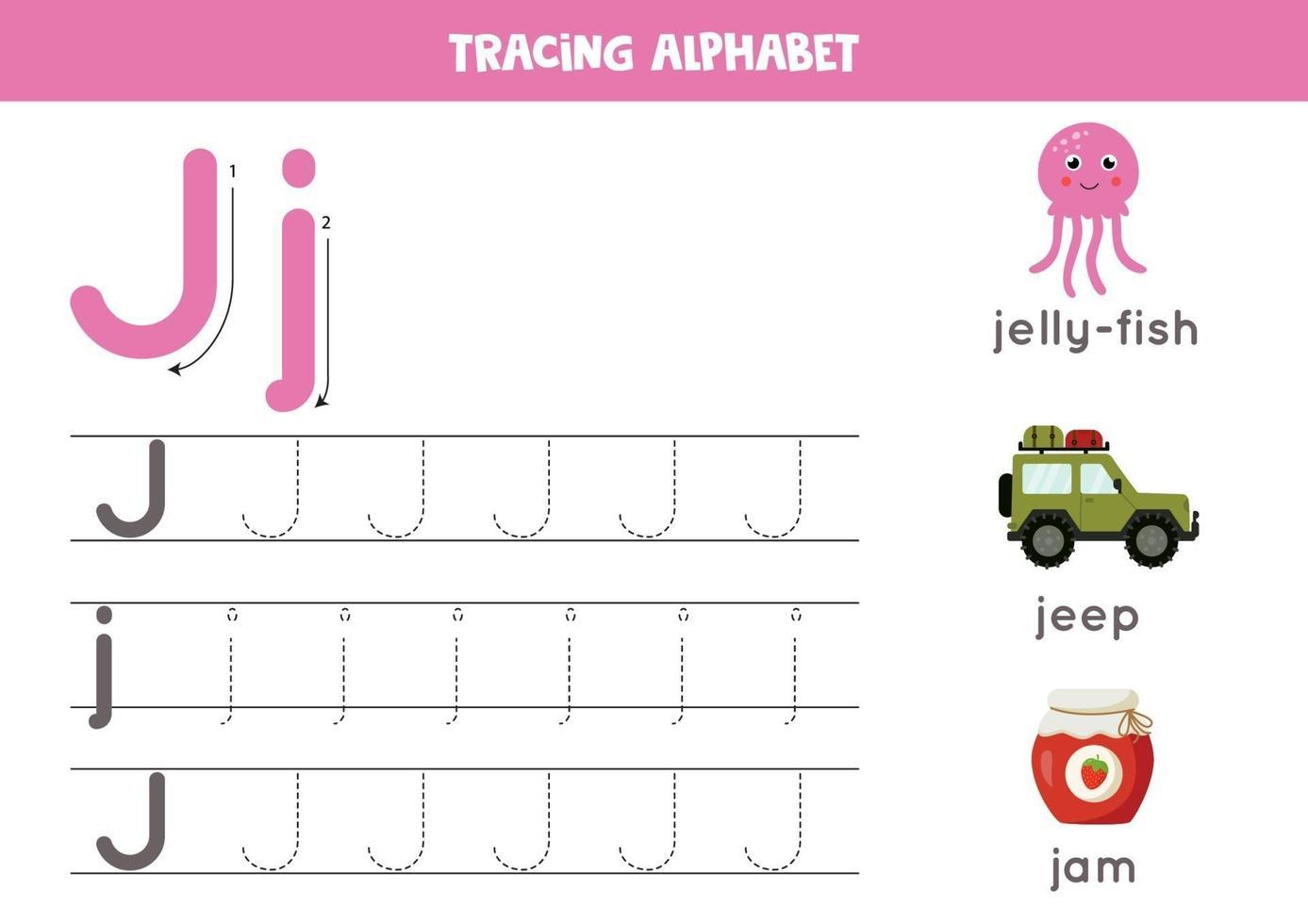 tracciando la lettera j dell'alfabeto con immagini di simpatici cartoni animati. vettore