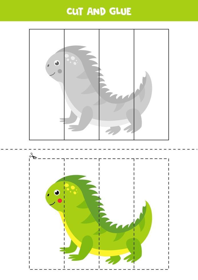 tagliare e incollare gioco per bambini. iguana simpatico cartone animato. vettore