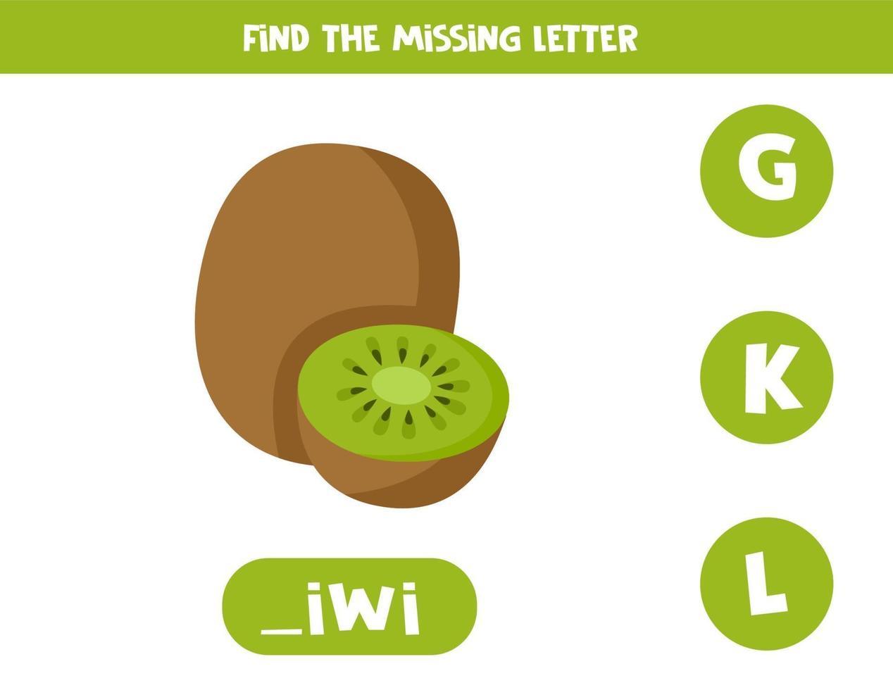 trova la lettera mancante nella parola. kiwi simpatico cartone animato. vettore