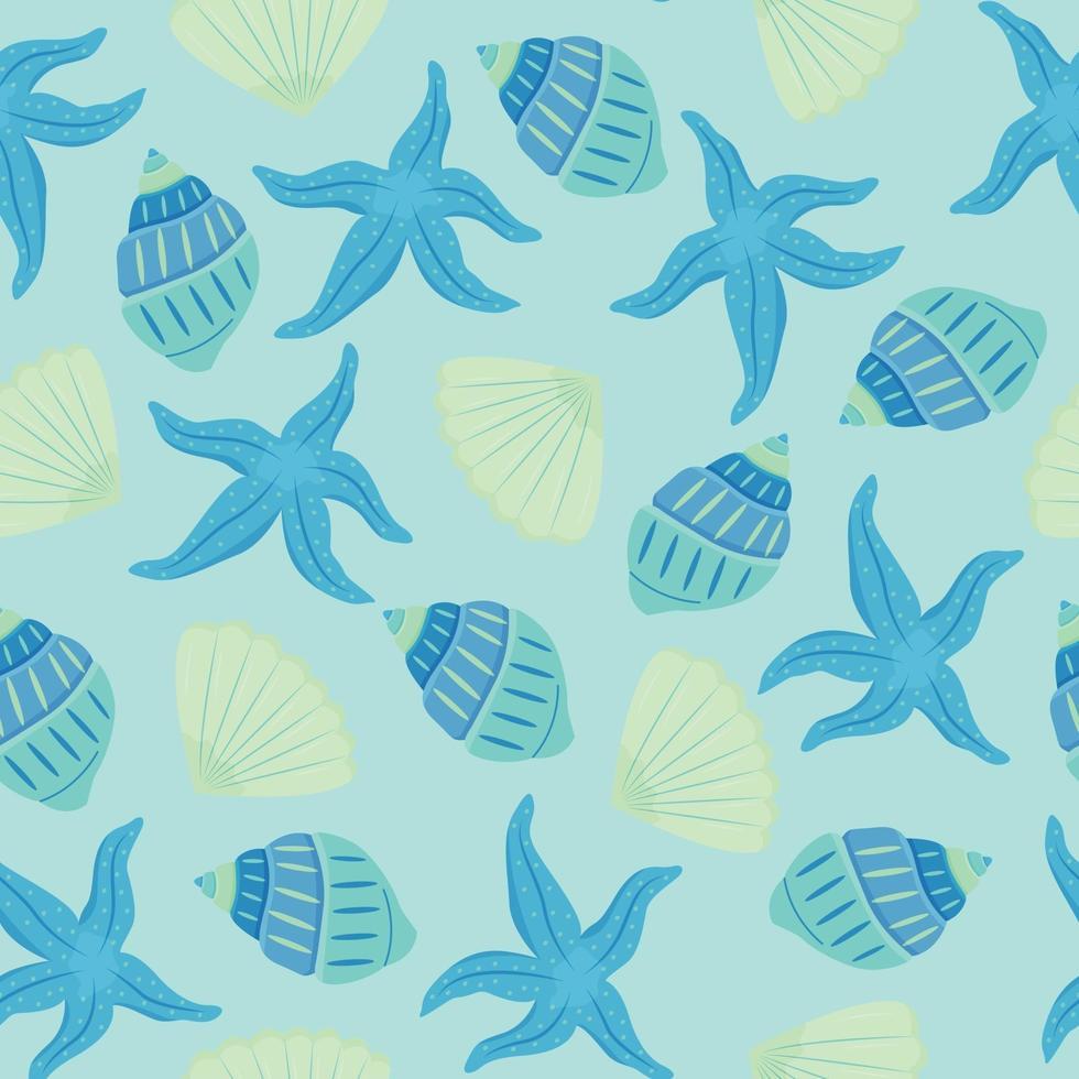 modello vettoriale senza soluzione di continuità con conchiglie e stelle marine. sfumature blu e turchesi. bellissimo motivo estivo.