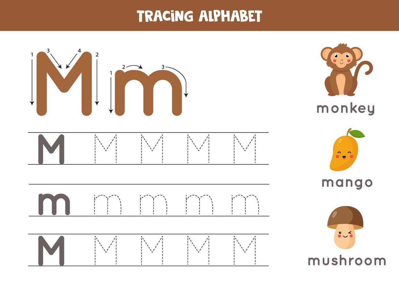 tracciando la lettera m dell'alfabeto con immagini di simpatici cartoni animati. vettore