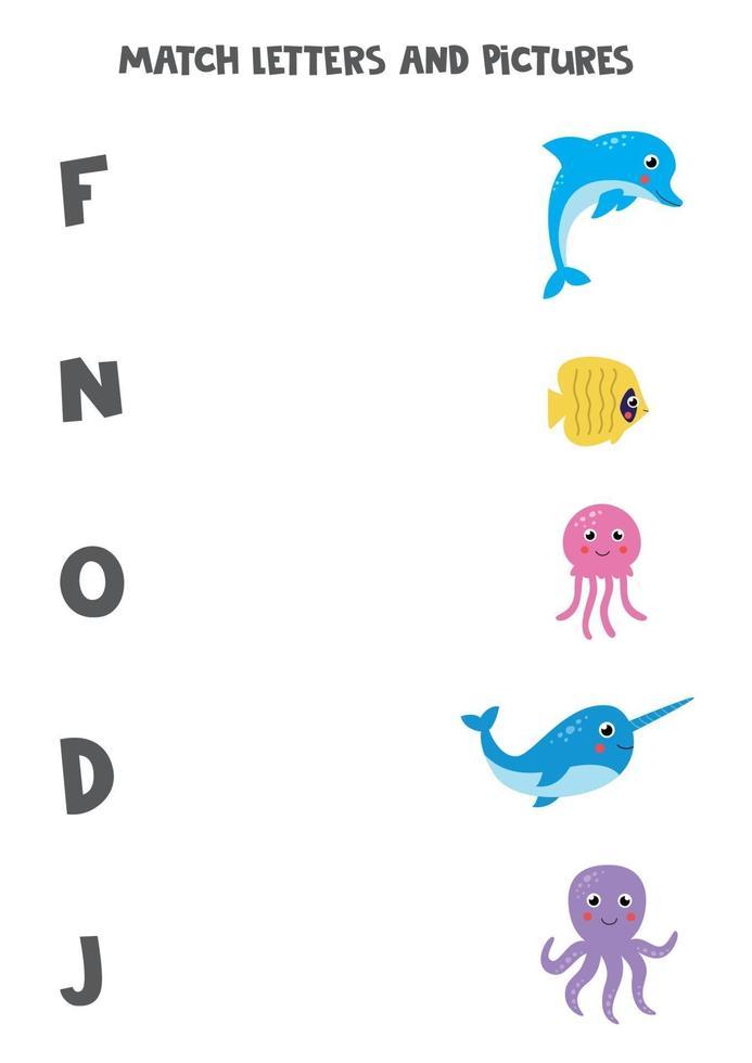 gioco di abbinamento per bambini. trova animali marini e lettere con cui iniziano. vettore
