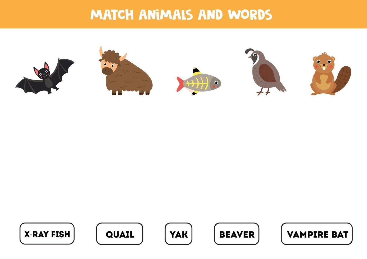 gioco di parole con simpatici animali. gioco educativo. vettore