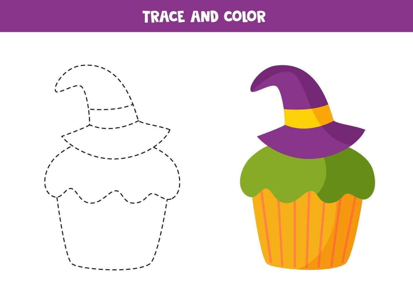 tracciare un foglio di lavoro con simpatico cupcake di halloween. vettore