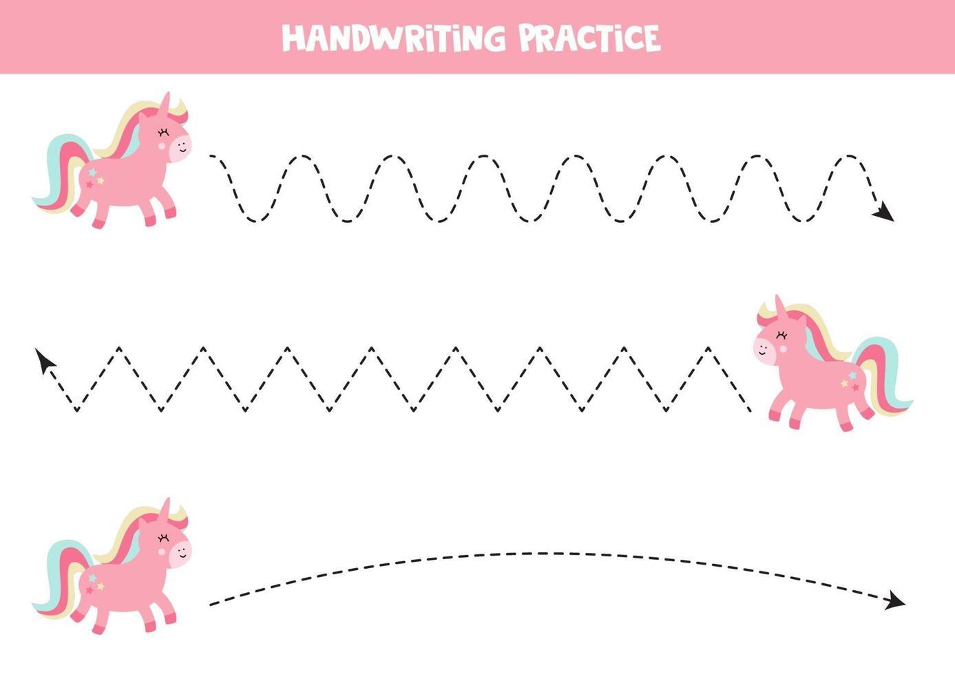 tracciando linee con unicorno simpatico cartone animato. pratica della scrittura a mano. vettore