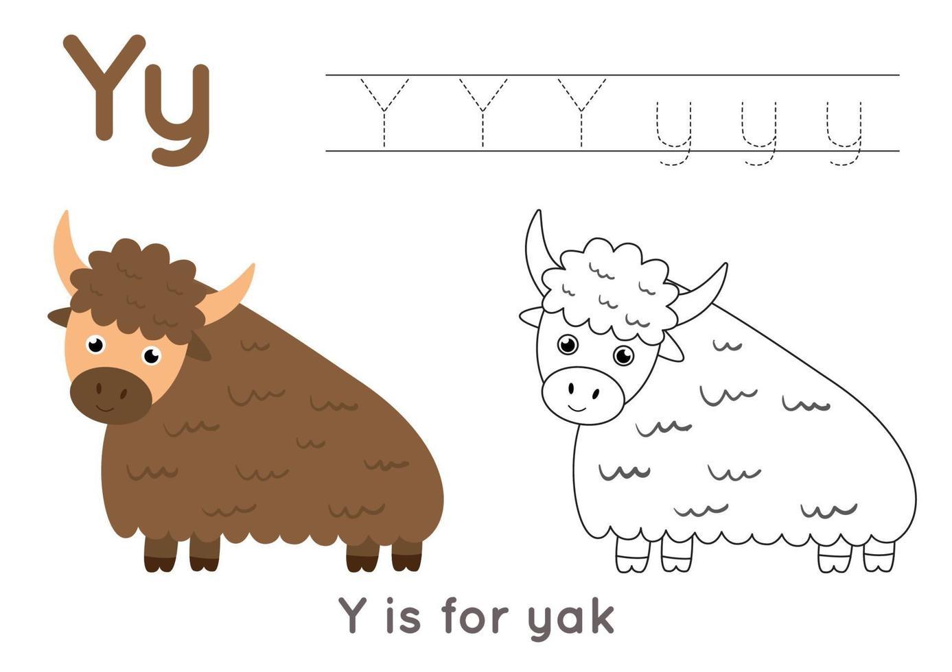 pagina da colorare con la lettera y e yak simpatico cartone animato. vettore