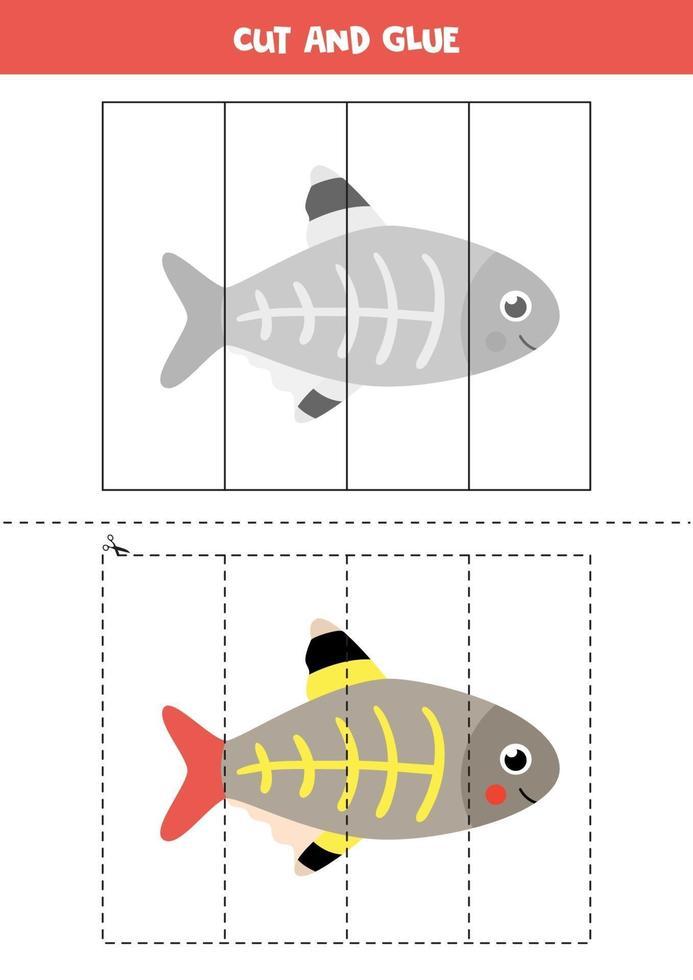 tagliare e incollare gioco per bambini. pesce a raggi x simpatico cartone animato. vettore