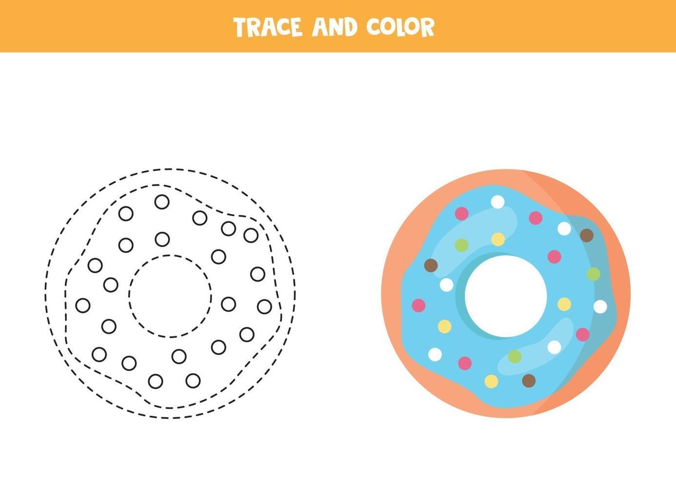 traccia e colora una graziosa ciambella blu. foglio di lavoro per bambini. vettore