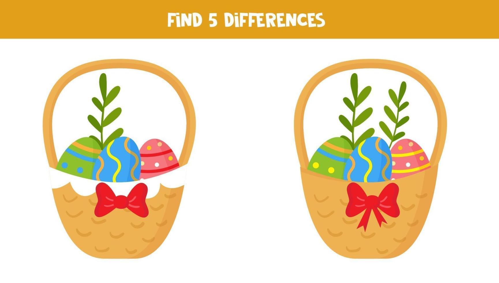 trova 5 differenze tra le immagini. cesti pasquali. vettore