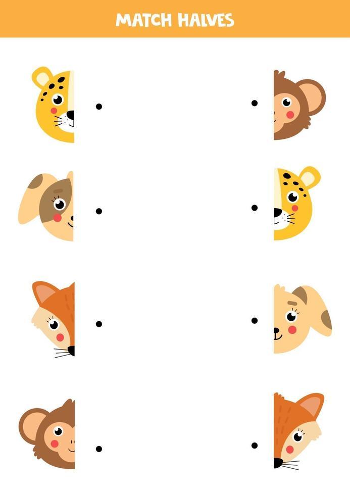 abbinare parti di facce di animali. gioco logico per bambini. vettore