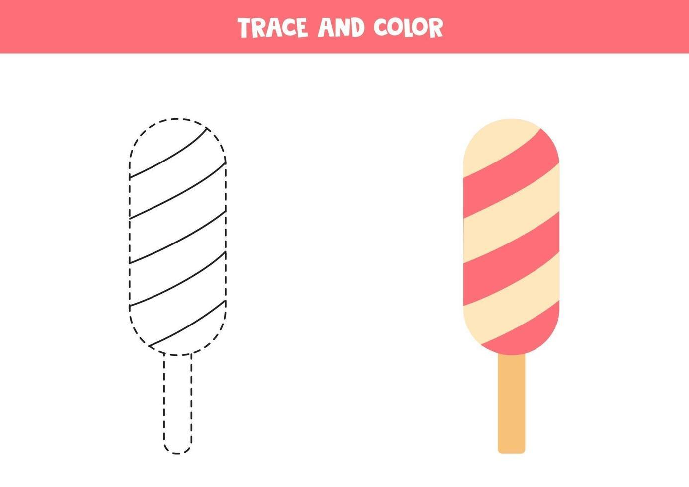 traccia e colora il gelato rosa. foglio di lavoro per bambini. vettore