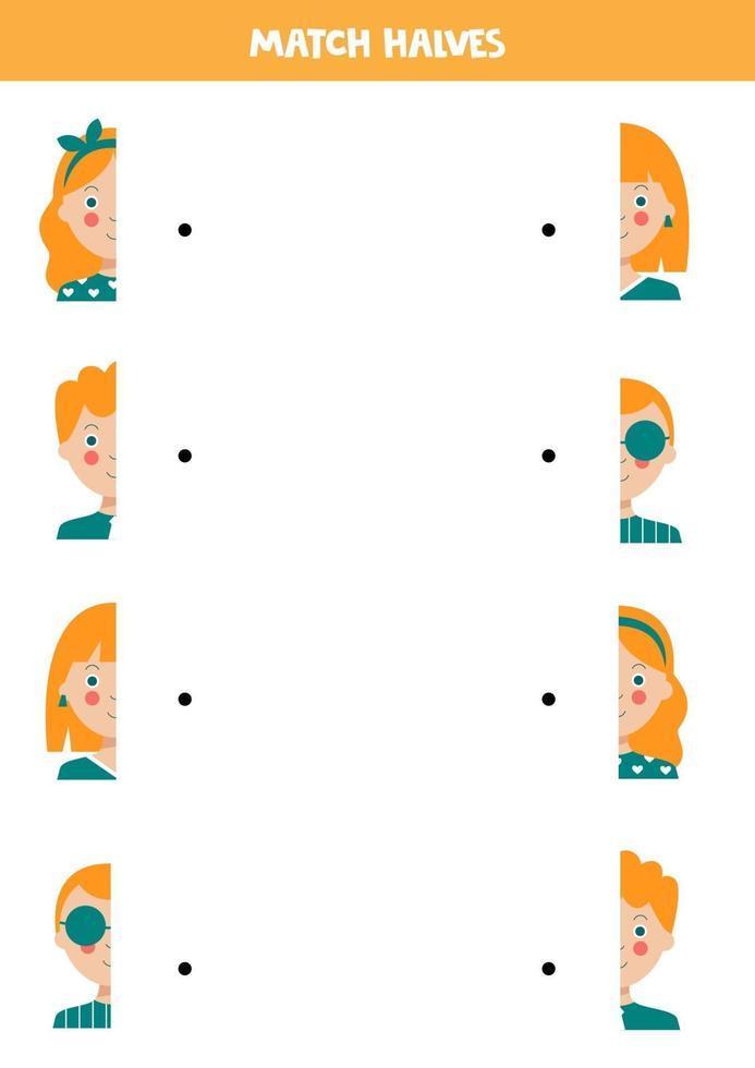 abbinare parti di volti umani. gioco logico per bambini. vettore