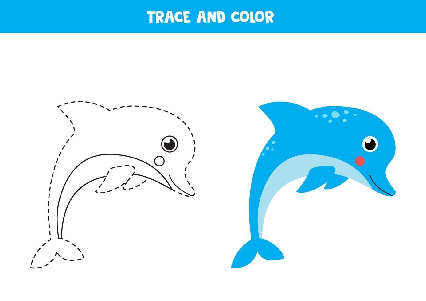 traccia e colora un simpatico delfino. foglio di lavoro per bambini. vettore