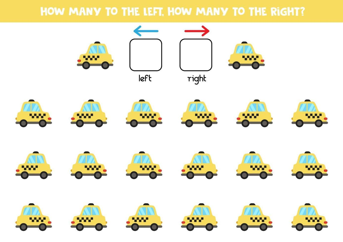 a sinistra oa destra con taxi auto. foglio di lavoro logico per bambini in età prescolare. vettore