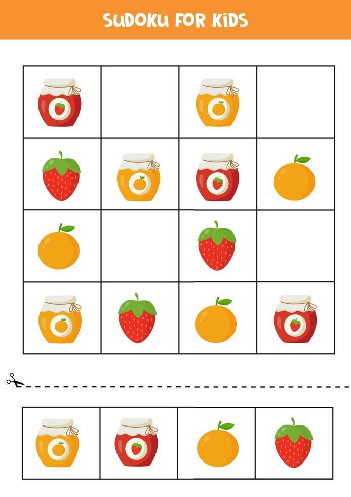 gioco di sudoku con vasetti di marmellata colorati con frutta. vettore