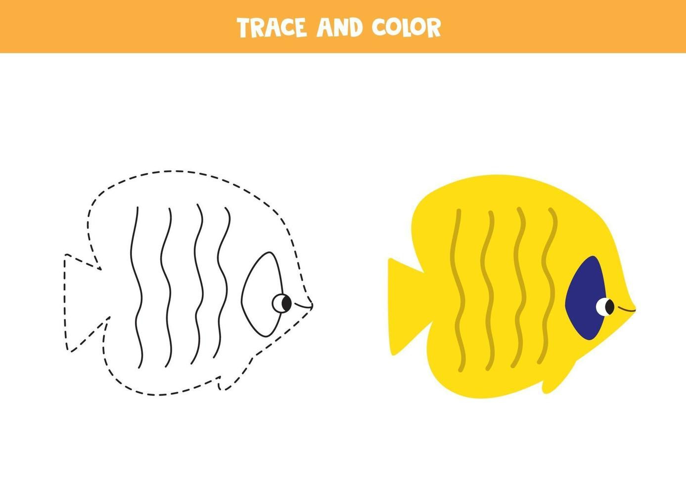 traccia e colora graziosi pesci di mare. foglio di lavoro per bambini. vettore