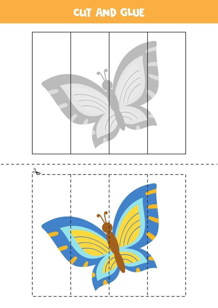 tagliare e incollare gioco per bambini. carino farfalla colorata. vettore