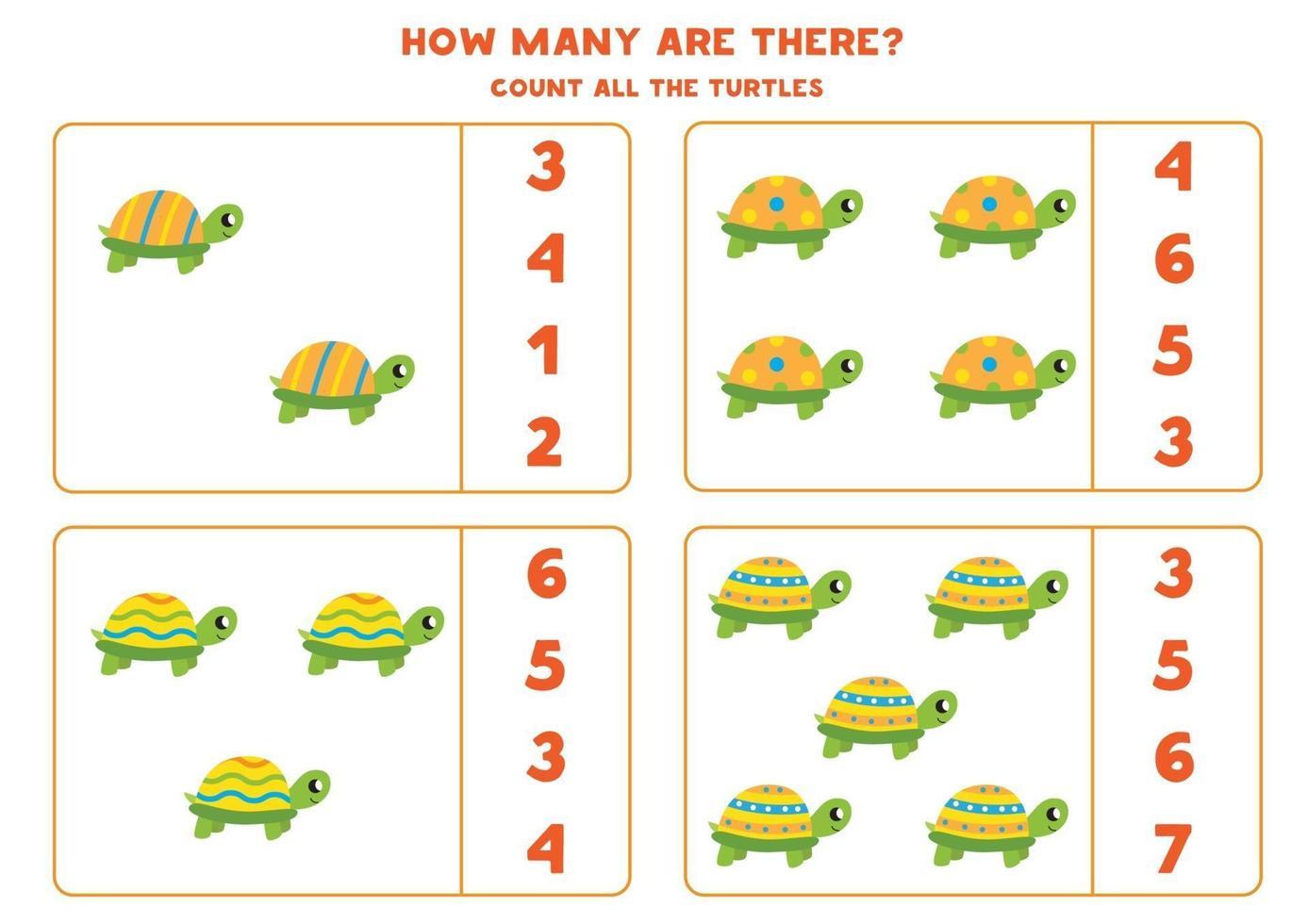 gioco di conteggio con simpatiche tartarughe. foglio di lavoro di matematica. vettore