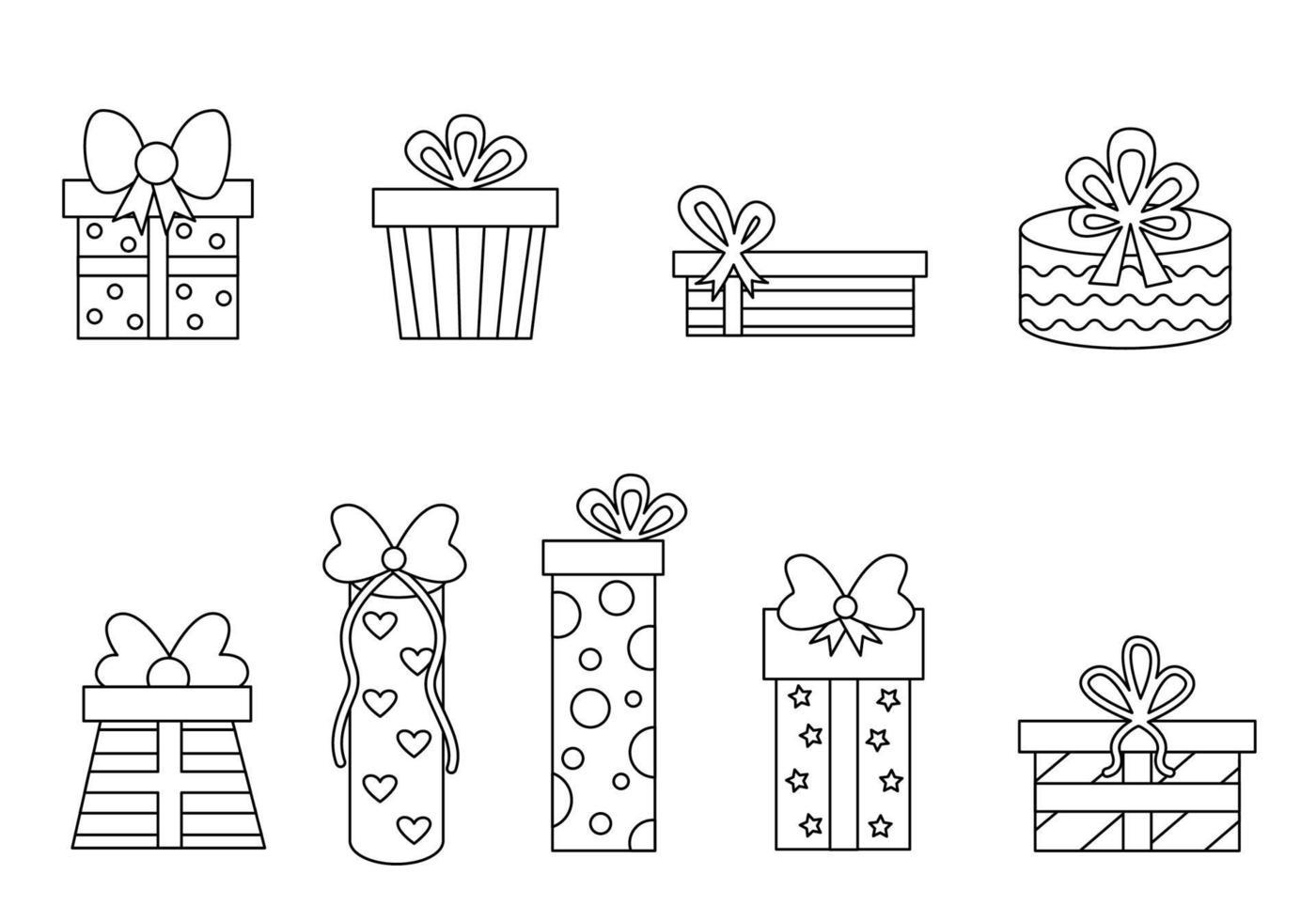 regali di colore bianco e nero. pagina da colorare per bambini. vettore