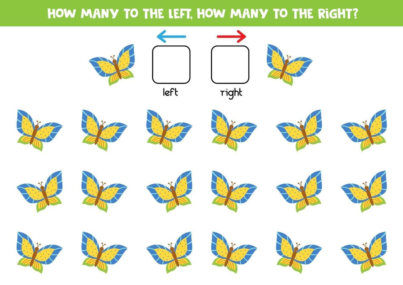 sinistra o destra con farfalla carina. foglio di lavoro logico per bambini in età prescolare. vettore