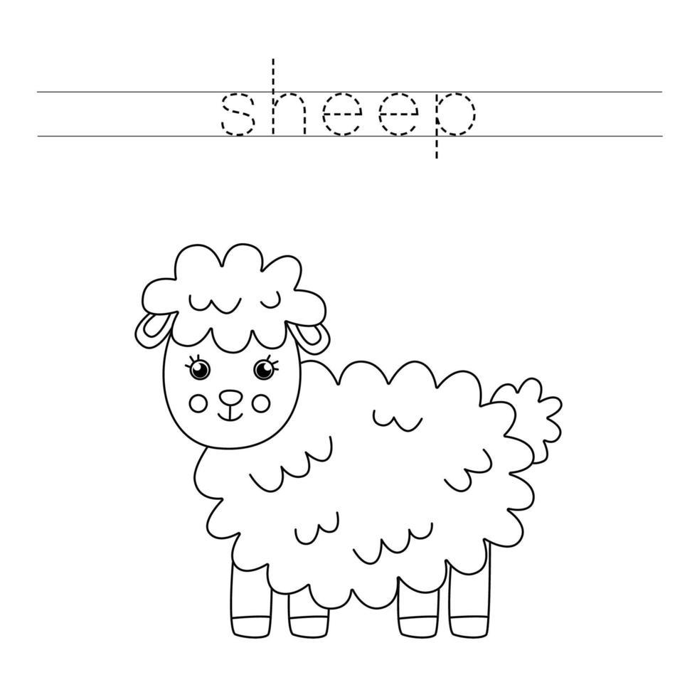 tracciando lettere con pecore carine. Pratica di scrittura. vettore