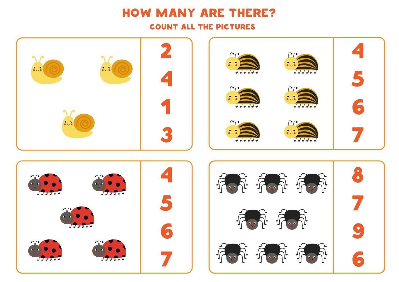 conta tutti gli insetti carini e cerchia le risposte corrette. gioco di matematica per bambini. vettore