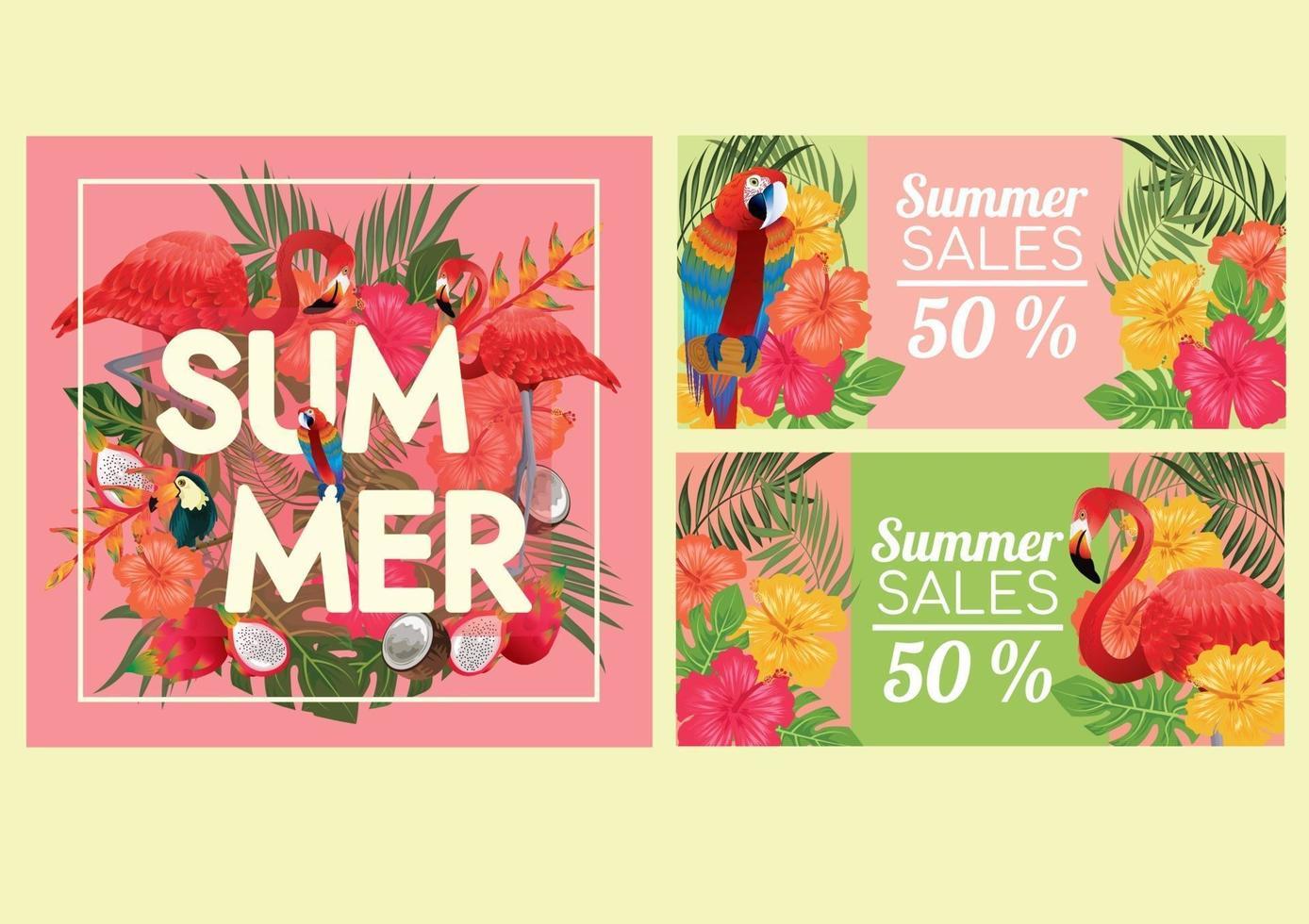 frutta tropicale e uccello macow e atmosfera da spiaggia al tramonto vettore