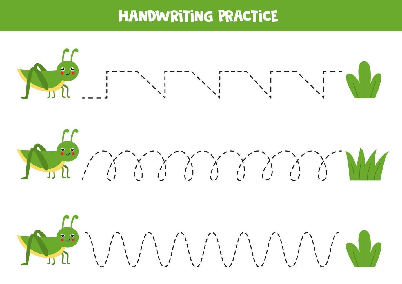 traccia le linee con simpatiche cavallette ed erba. Pratica di scrittura. vettore